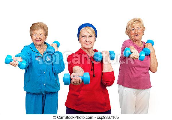Three senior women doing workout. - csp9367105