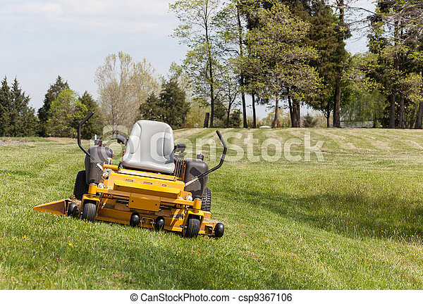 Zero turn lawn mower on turf with no driver - csp9367106