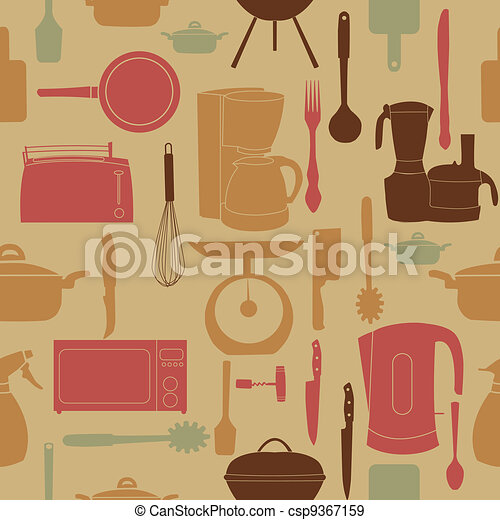vector illustration seamless pattern of kitchen tools for cooking - csp9367159