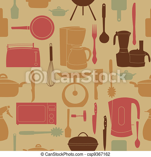 vector illustration seamless pattern of kitchen tools for cooking - csp9367162