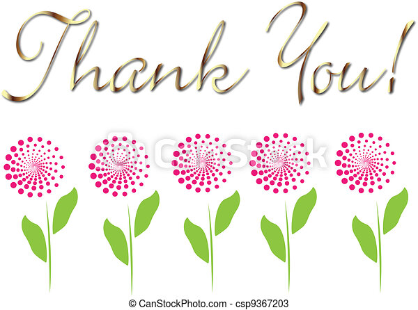 Card thank you in gold with flowers - csp9367203