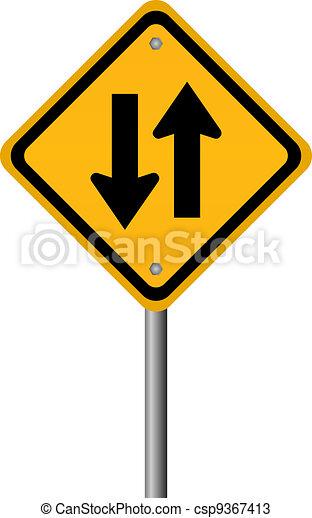 Two way traffic sign - csp9367413
