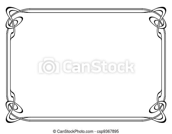 art nouveau black ornamental decorative frame - csp9367895