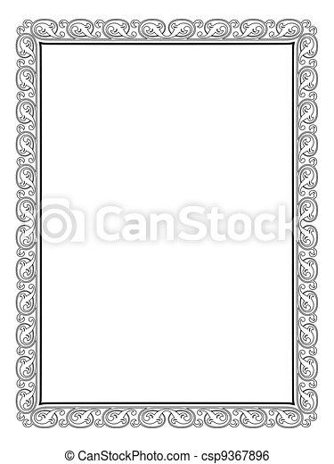 calligraphy penmanship curly baroque frame black - csp9367896