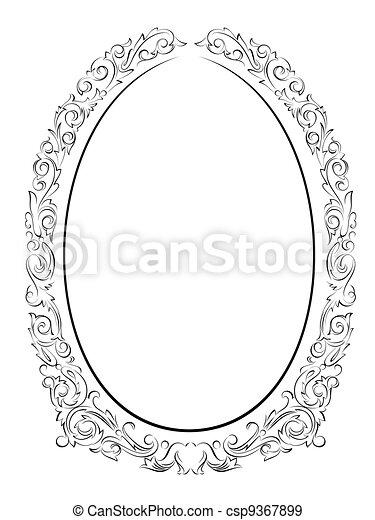 calligraphy penmanship oval baroque frame black - csp9367899