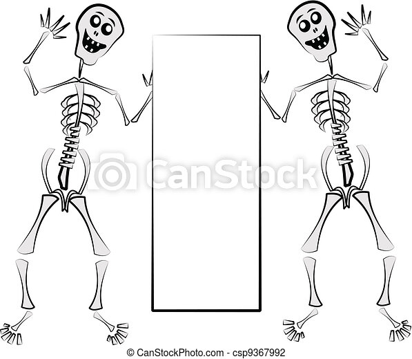 skeletons holding sign  - csp9367992