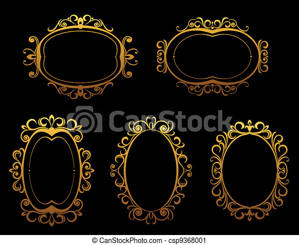 Golden vintage frames and borders - csp9368001
