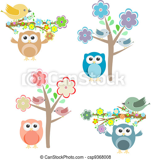 Blooming tree and branches with sitting owls and birds - csp9368008