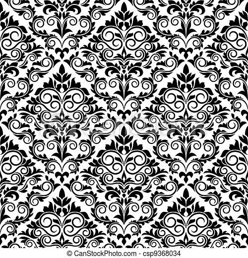 Damask floral seamless - csp9368034