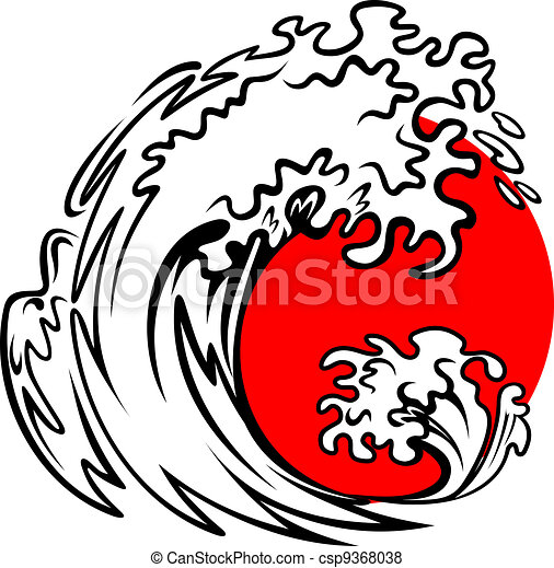 Sea wave and red sun - csp9368038