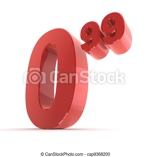 Solid Price Tag Number 0.99 - Glossy Red - csp9368200