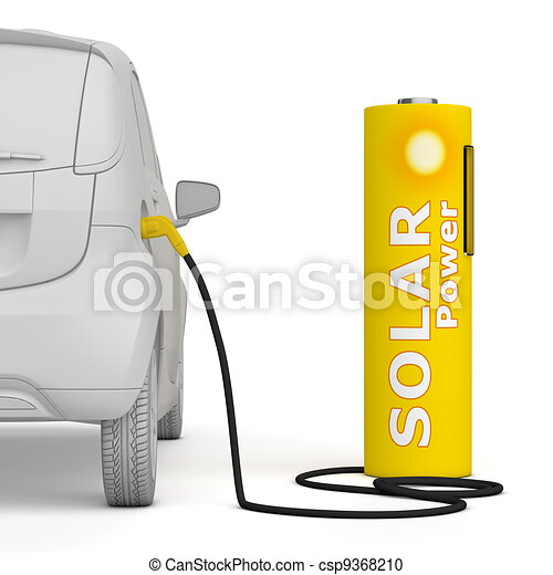 Battery Petrol Station - Solar Power fuels an E-Car - csp9368210
