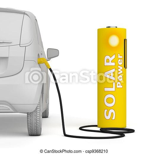 Battery Petrol Station - Solar Power fuels an E-Car - csp9368210