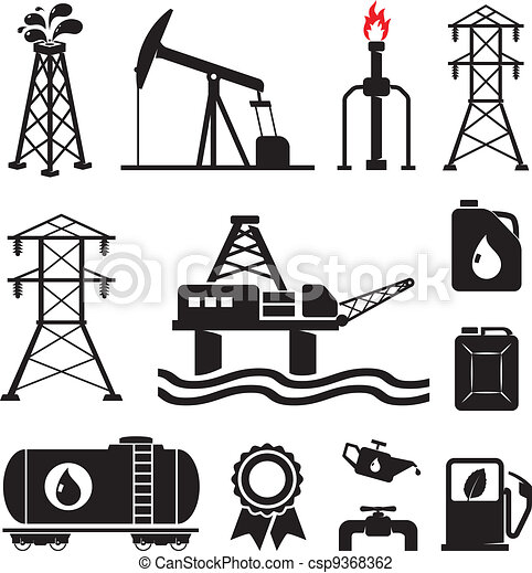 Oil, gas, electricity symbols - csp9368362