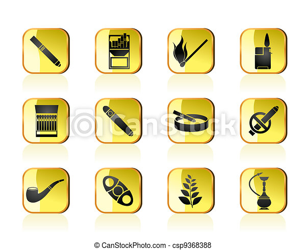 Smoking and cigarette icons - csp9368388