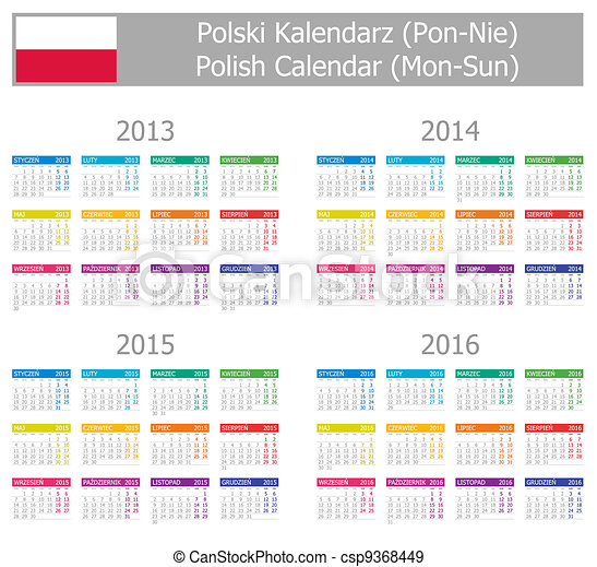 2013-2016 Type-1 Polish Calendar - csp9368449
