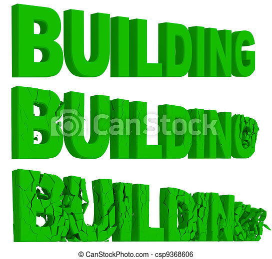Crumbling and destruction of the word Building - csp9368606