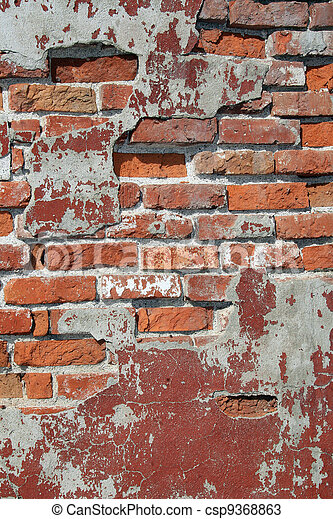 Rough, Cracked, and Chipped Brickwall - csp9368863