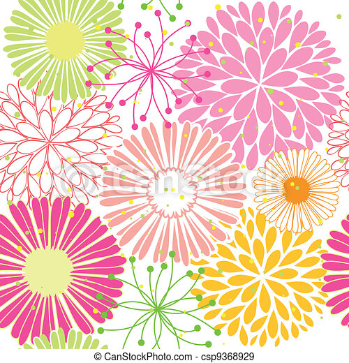 Springtime colorful flower seamless pattern - csp9368929