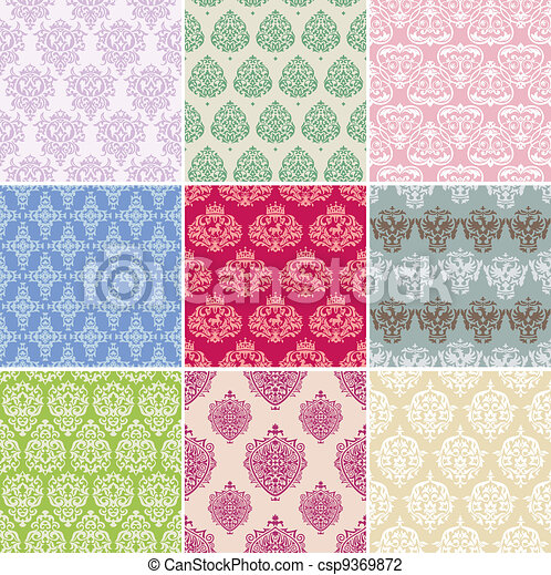 set of seamless retro background - csp9369872