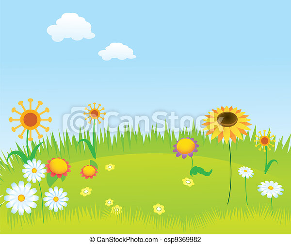 Blooming lawn background - csp9369982