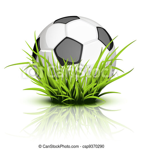 Soccer ball on reflecting grass - csp9370290