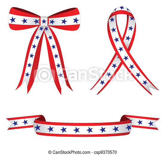Vector Clipart of Patriotic Ribbons - Stylish ribbons colored red ...