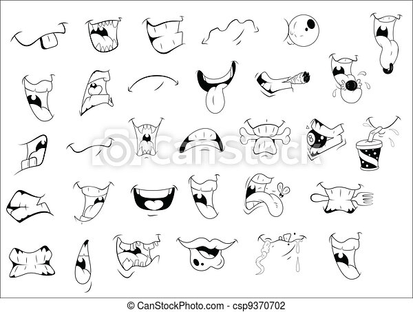 Cartoon Mouth Expressions - csp9370702