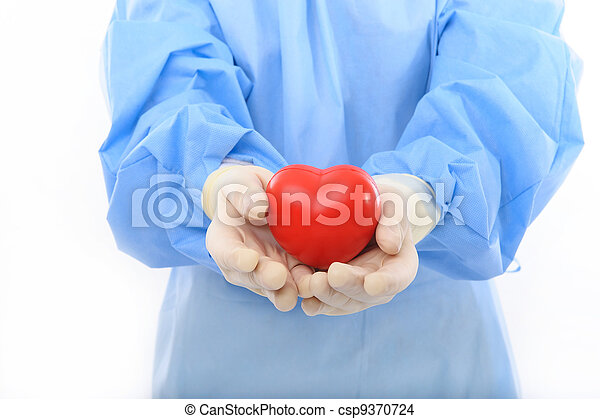 sterile doctor holding heart - csp9370724