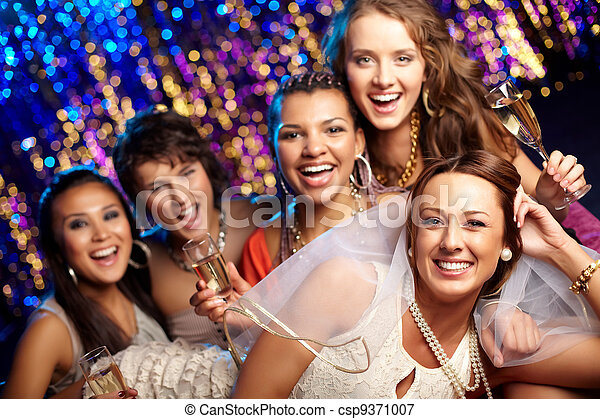 Bride having fun - csp9371007