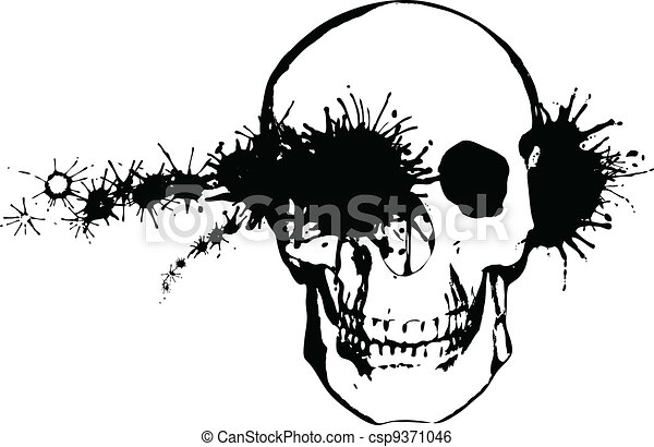 Monochrome grunge illustration - a bullet through a human skull - csp9371046