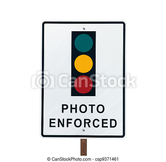 Photo Enforced Traffic Light Sign - csp9371461