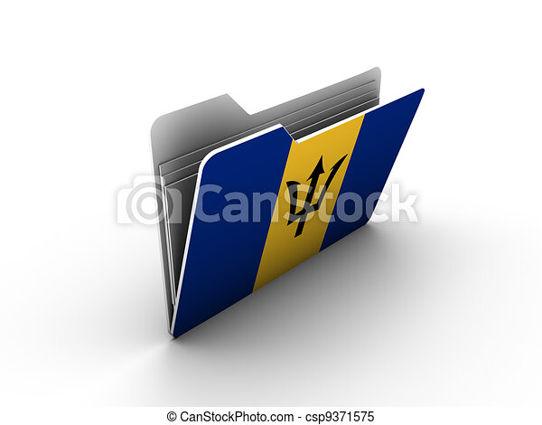 folder icon with flag of barbados - csp9371575