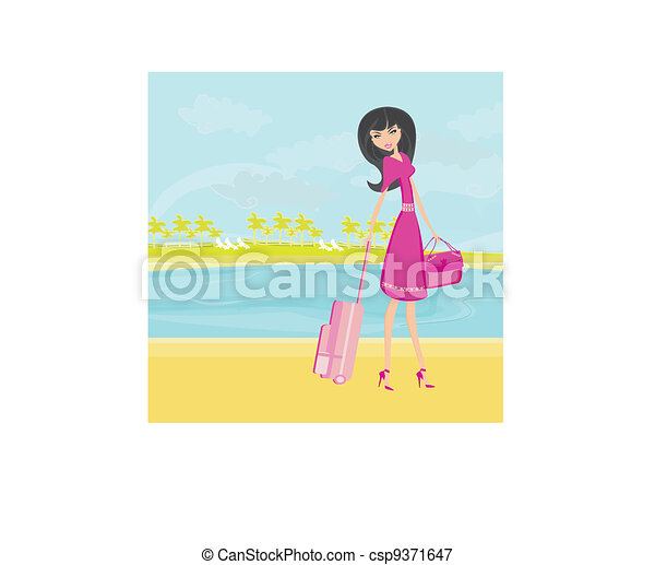 beauty travel girl with baggage  - csp9371647