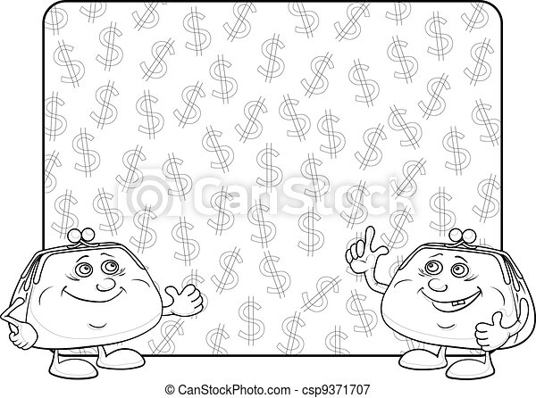 Purses and poster with dollars, contour - csp9371707