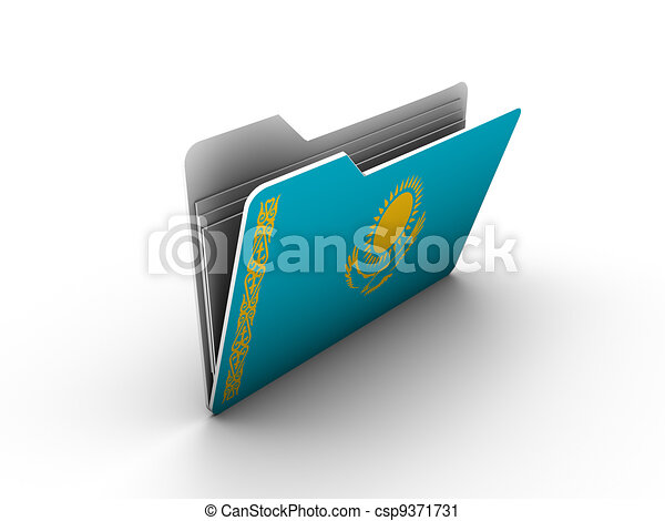 folder icon with flag of kazakhstan - csp9371731