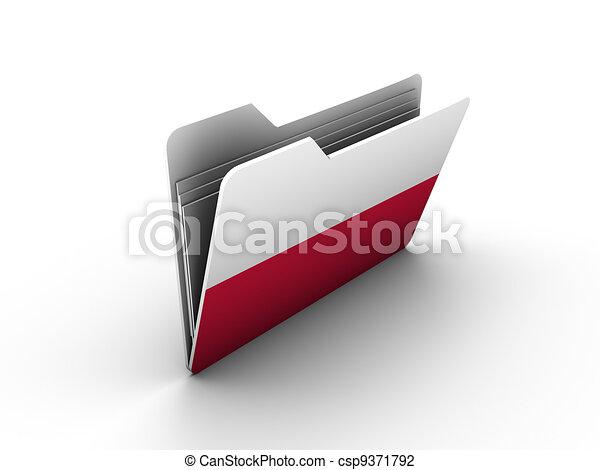 folder icon with flag of poland - csp9371792