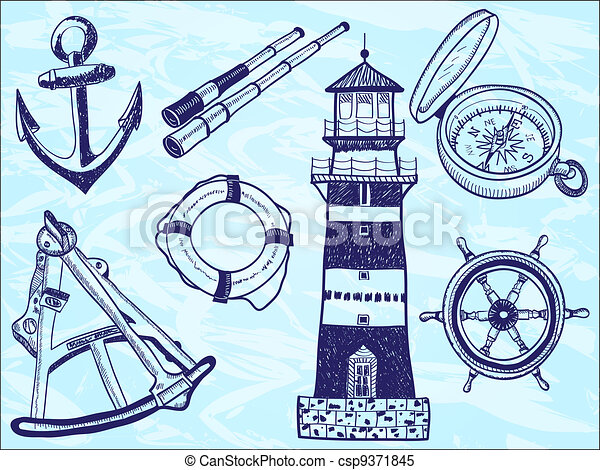 Nautical collection - hand-drawn illustration - csp9371845