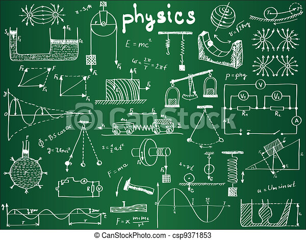 Physical formulas and phenomenons on school board - csp9371853