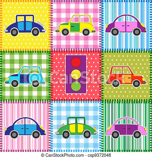 Patchwork with cartoon cars - csp9372048
