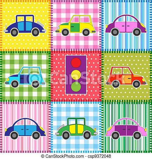 Patchwork with cartoon cars - csp9372048