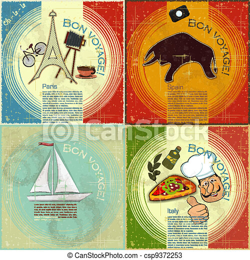 set of Vintage travel postcard - French, Italian and Spanish theme  - grunge style card - vector illustration - csp9372253