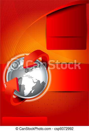 Vector background with continents for brochures - csp9372992