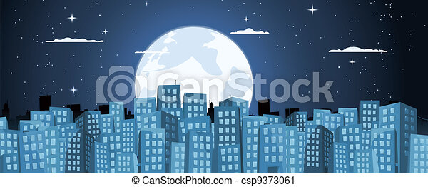 Cartoon Buildings Background In The Moonlight - csp9373061