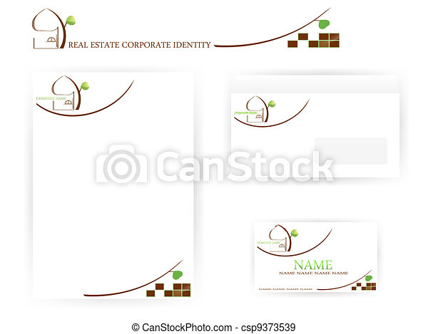 set of real estate corporate identity templates - csp9373539