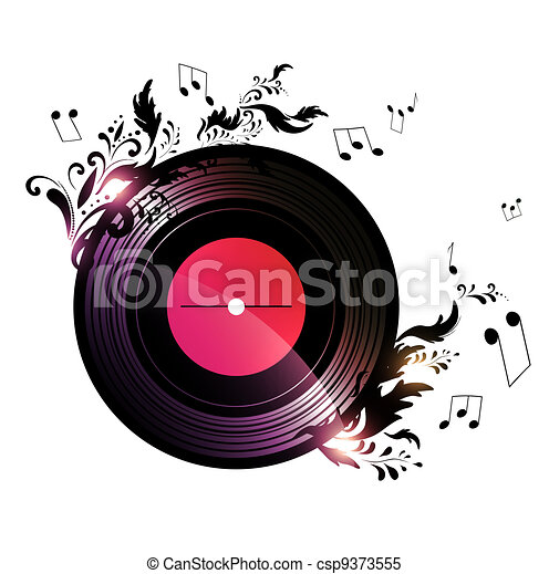 vinyl record with floral music decoration - csp9373555