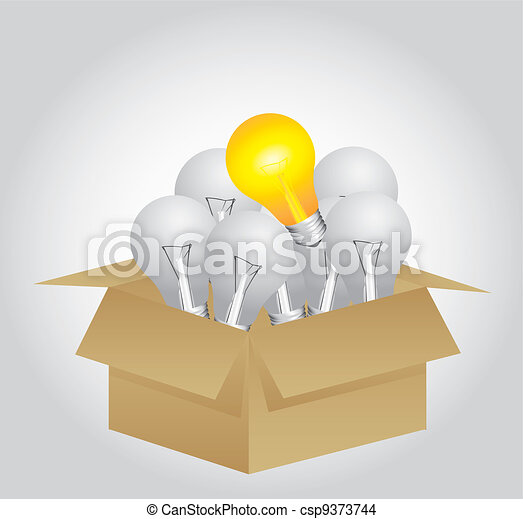 open cardboard box whit bulbs - csp9373744