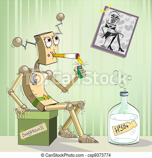 Robot-alcoholic - csp9373774
