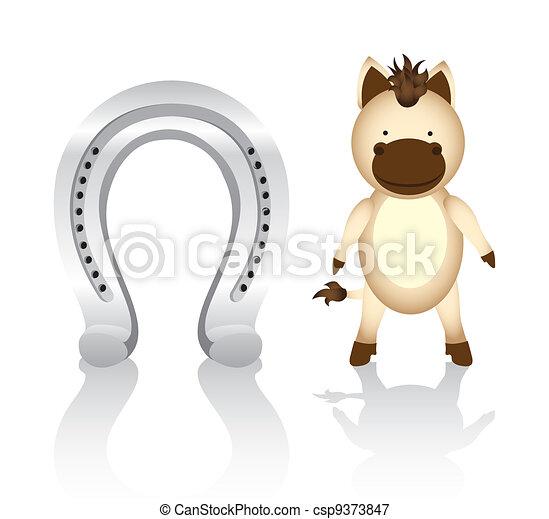 cute cartoon horse whit horseshoe - csp9373847