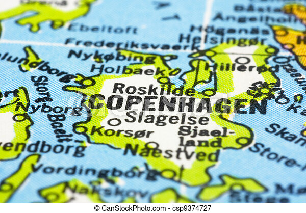 close up of Copenhagen on map, Denmark - csp9374727